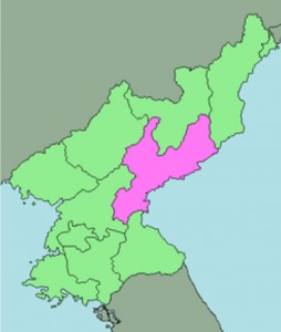 imageColor map of North Korea, Hamgyoung is highlited pink.