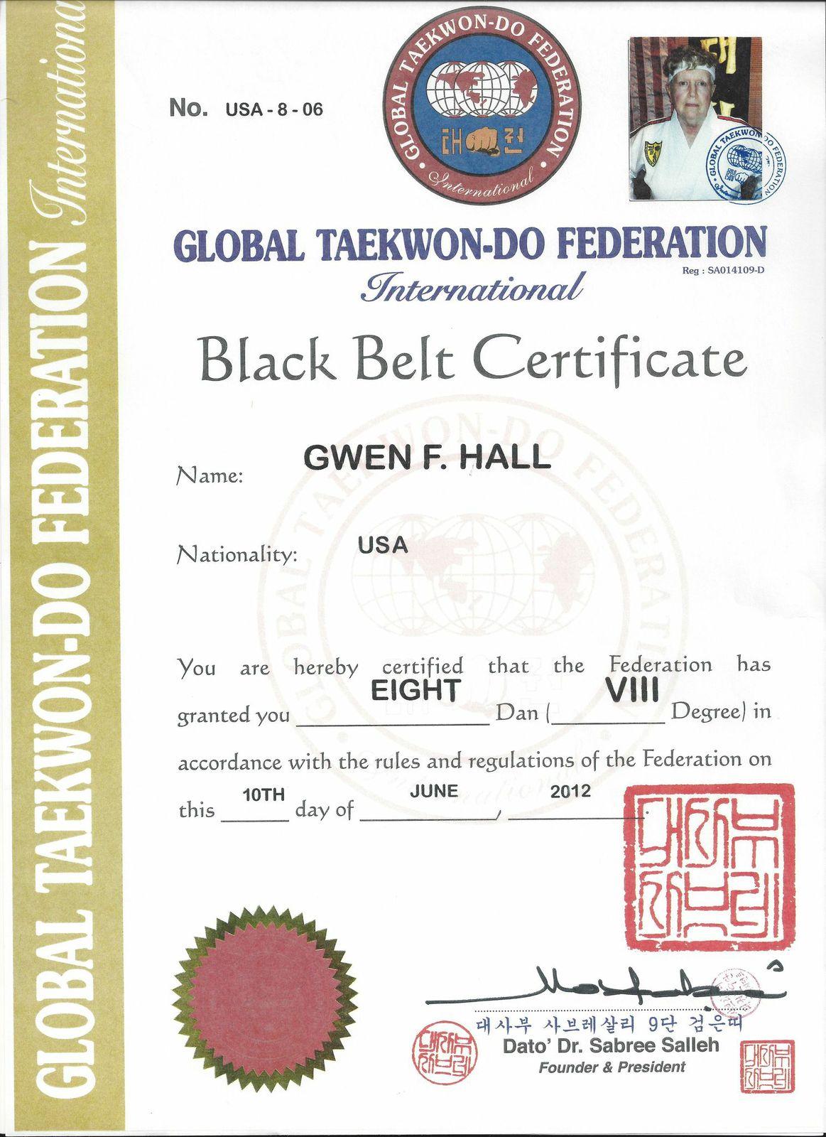 Gwen F Hall 9th Dan